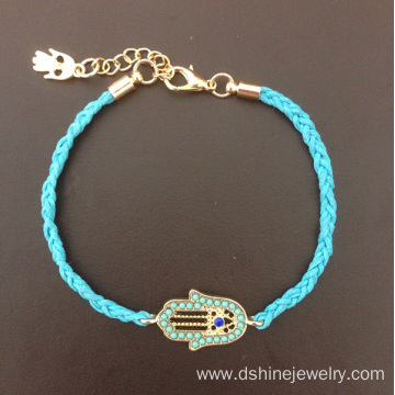 Twist Weaved Hamsa Evil Eye Shape Women Bracelet Jewelry