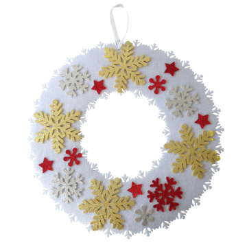 Christmas snowflake pattern front door wreath