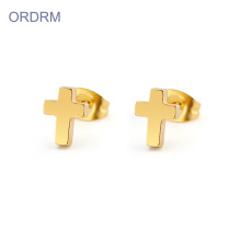 Stainless steel gold cross stud earrings