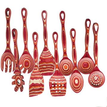 Red Colorfuly Pakkawood Kitchen Tool Sets