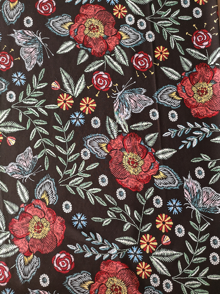 Embroidery Flower Rayon Challis 30S Printing Woven Fabric