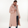 Pink turtleneck hooded down jacket