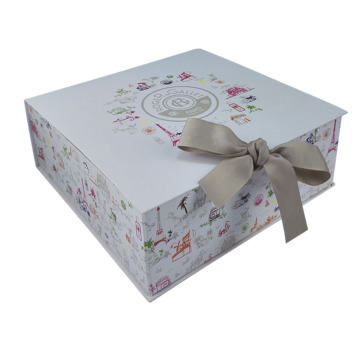 Perfect folding gift box with satin ribbon