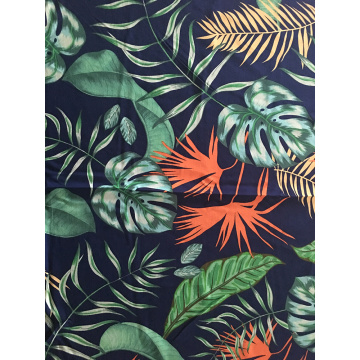 Tropical Leaves Rayon Challis 30S Air-jet Printing Fabric