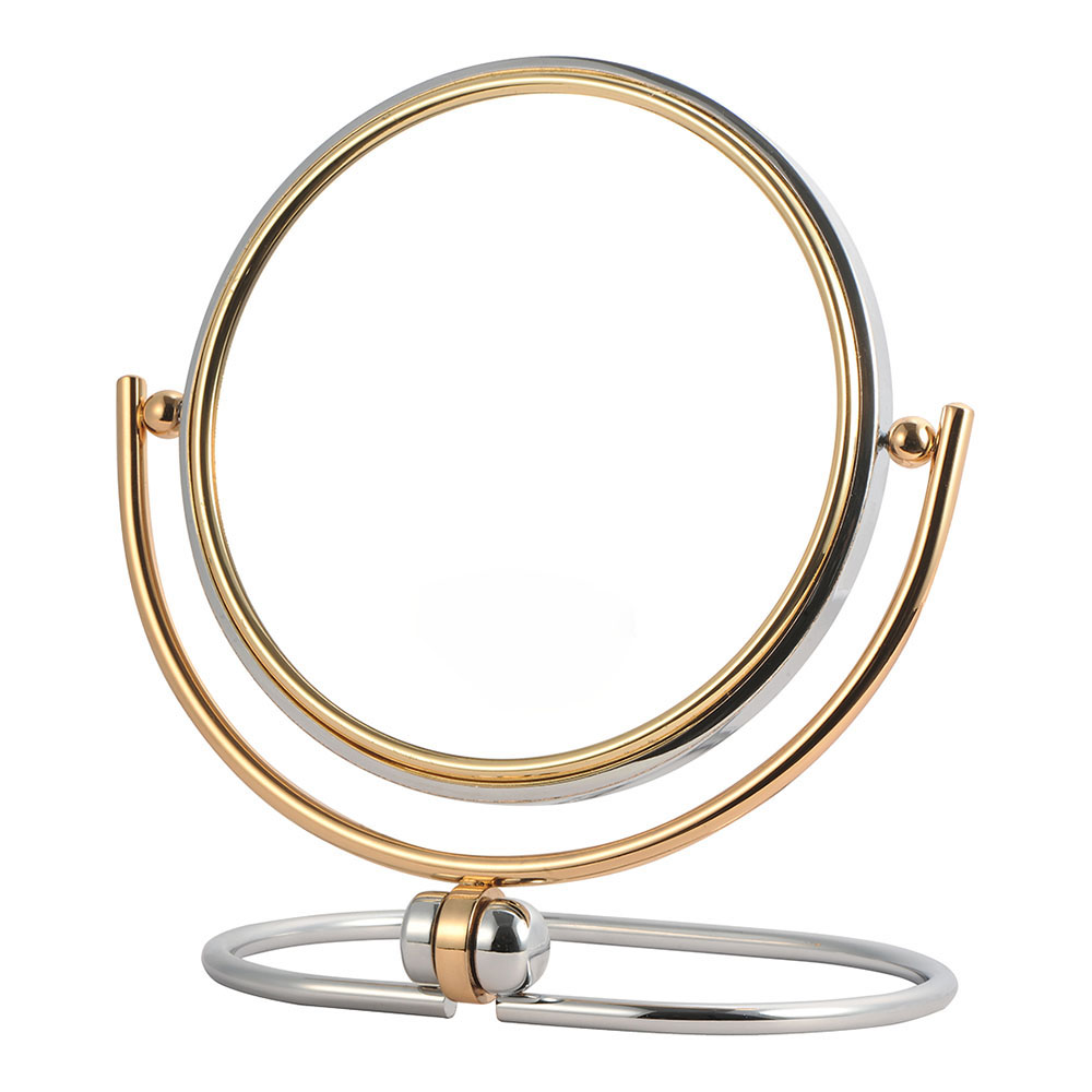 Round gold-plated vanity table mirror