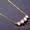 18k Gold Chain Natural Freshwater Real Pearl Necklace