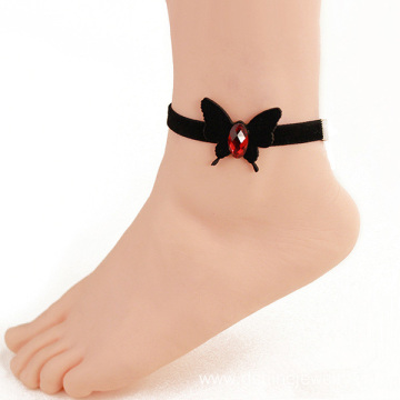 Black Velvet Leg Bracelet Anklet With Leather Butterfly Charm