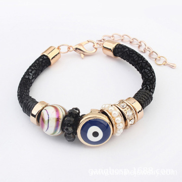 Mesh Crystals Evil Eye Beads Bracelet Handmade Pearl Bangle