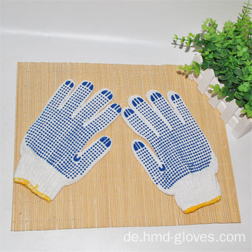 Polycotton Gestrickter Double Side Blue PVC Gestrickter Handschuh