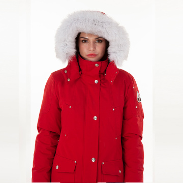 Fashion single-breasted red down jacket