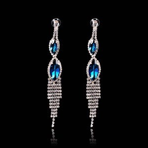 Water Droplets Crystal Long Dangles Earrings Wedding
