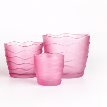 pink color wave pattern glass cup