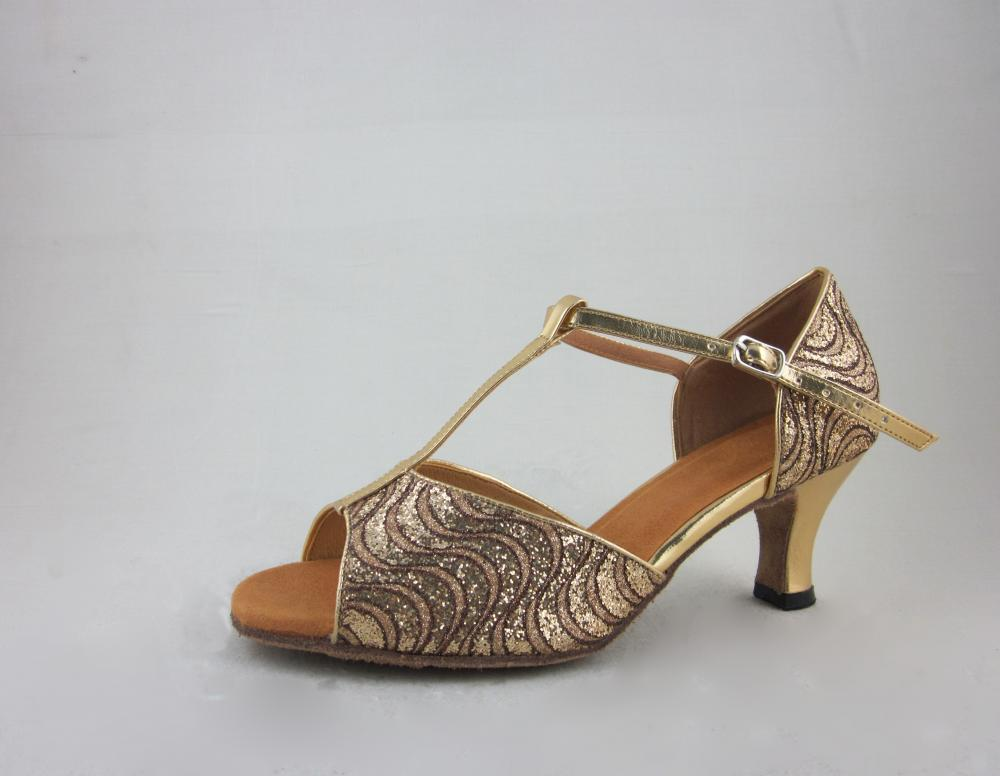 1 5 Inch Girls Gold Latin Shoes