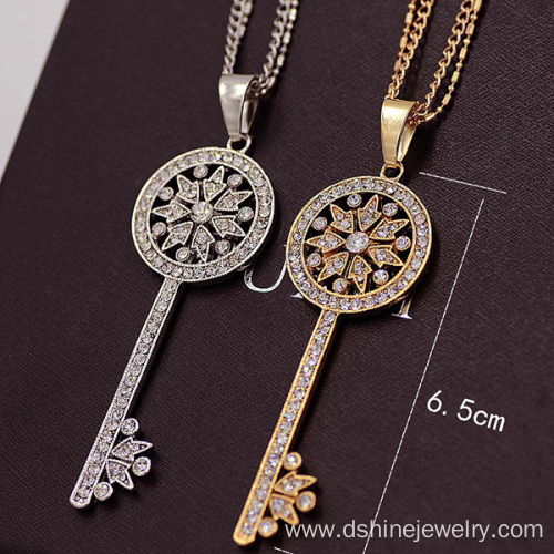 Full Rhinestone Chain Silver Plated Key Necklace For Lady