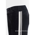 Black velvet slim trousers jogger pants