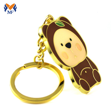 Gift gold metal bear keychain maker