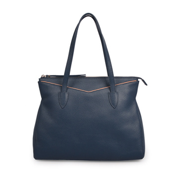 Work Handbag Cowhide Leather Two way Bag Blue