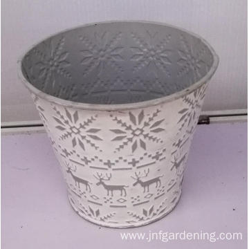 White metal embossed bucket