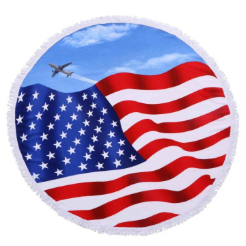 funny cheap american flag round microfiber beach towel