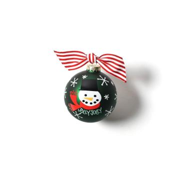 Snow Man Customized Design Glass Christmas Ball