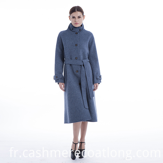 Stand collar cashmere coat