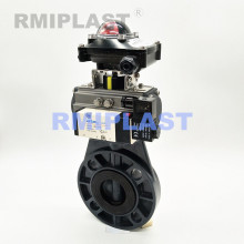 Pneumatic Butterfly Valve PVC Double Acting With Solenoid Valve