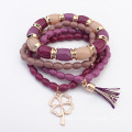 Multi Layer Beads Tassel Bracelets For Women With Gold Charm