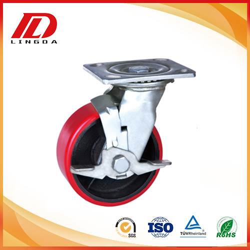5'' plate industrial caster with lock