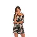 Camouflage Strapless Casual Off-the-Shoulder Women's T-shirt