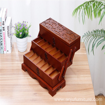 Wholesale antique customizable wooden cosmetics cosmetic case