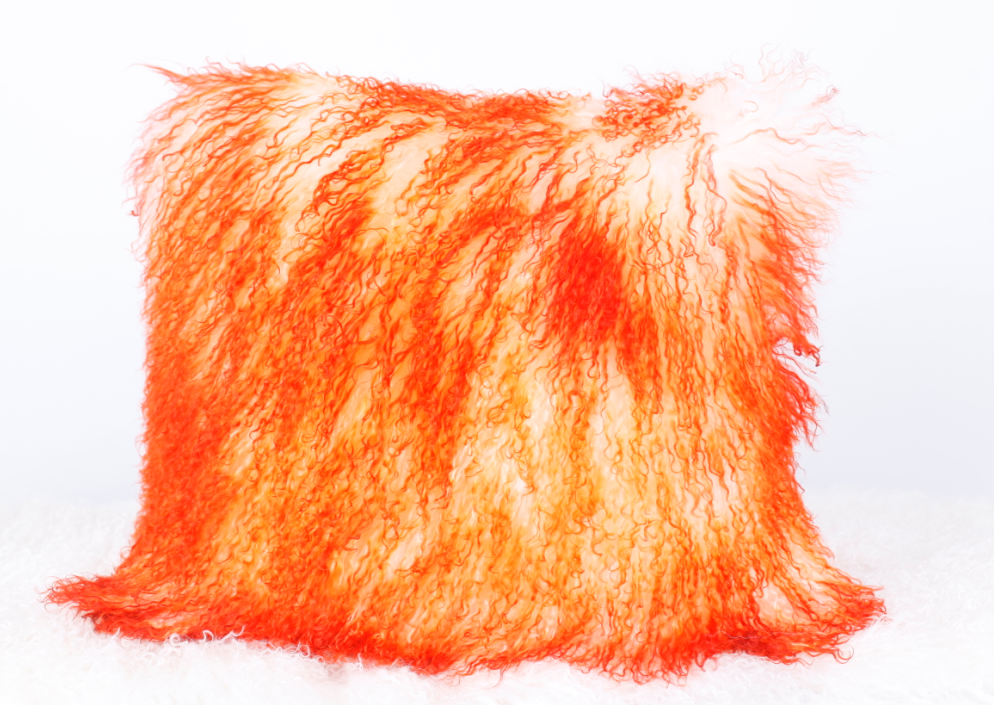 Mongolian Lamb Fur Cushion Bleached with Orange top