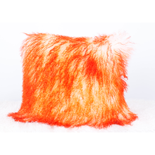 Special Design for Mongolian Sheep Fur Cushions Mongolian Lamb Fur Cushion Bleached with Orange top export to Lithuania Factories