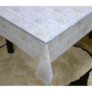Printed pvc lace tablecloth by roll solid