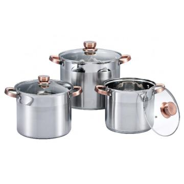Stainless Steel Stock Pot with Golden Handles