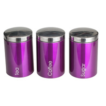 Purple Canister With Stainless Steel Lid