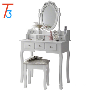 Girls Vanity Dressing Table Mirror Stool Set with Organizer