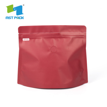 Matt plastic coffee stand up packaging bag with zipper and valve