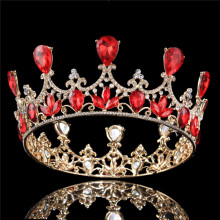 Gold Plated Royal Red Rhinestones Crystal Crown