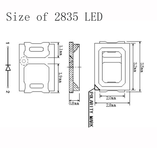 2835 Green LED size