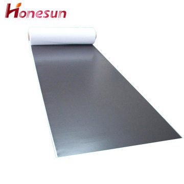 Flexible rubber magnetic sheet with white PVC printing