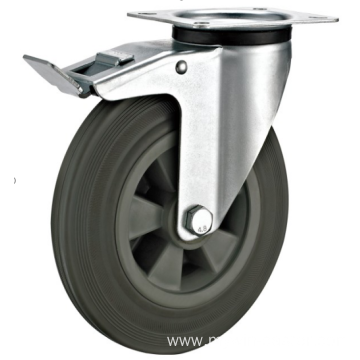 80mm industrial rubber  swivel   casters with  brakes