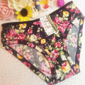 OEM wholesale China cheap blue sexy women printed flowers fancy underwear 505