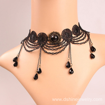 Fashion Crochet Necklace Black Lace Necklace Choker