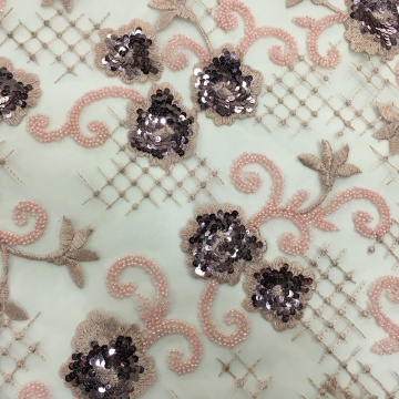 Wonderful Wedding Fabric With Beads And Sequins Embroidery