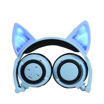 Hot selling attractive for Cat Ear Headphones Colorful Stereo Wireless Glowing Foldable Cat Ear Headphone export to Bouvet Island Supplier