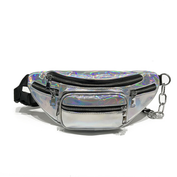 Dazzle Silver Festival Women Shiny Holographic Fanny Packs