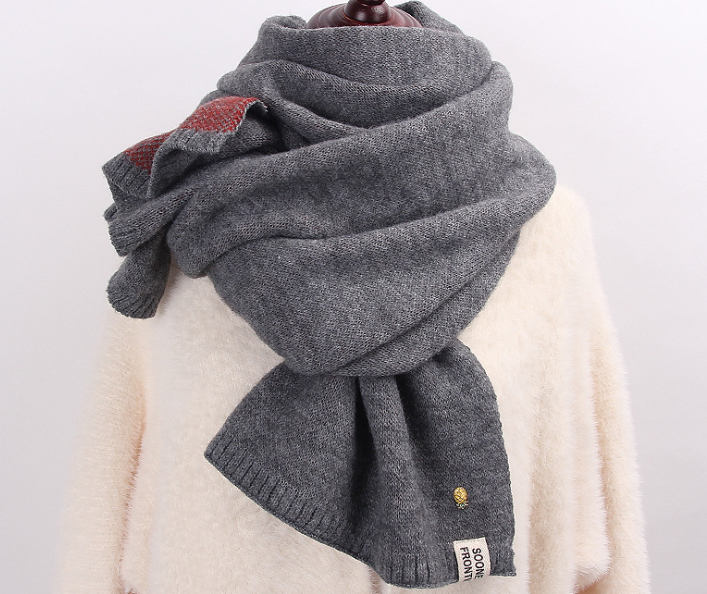 Jacqaurd Shawl Knitting Scarf Grey