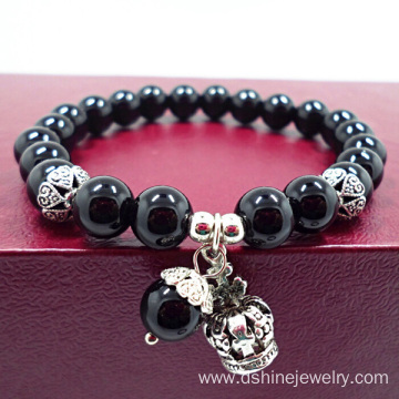 Black Onyx Beads Bracelet With Crown Drop Pendant Bracelet