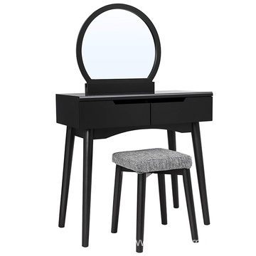 Black Vanity Table Set with Round Mirror 2 Large Sliding Drawers Dresser Makeup Table Dressing Table Set