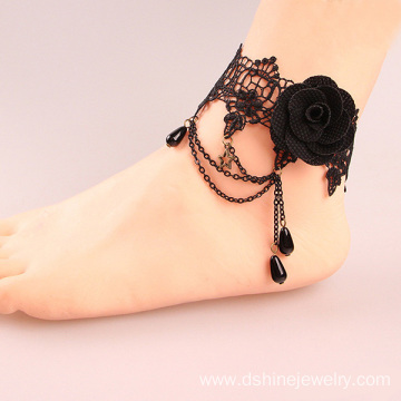 Black Rose Lace Girls Chain Tassel Drop Beads Design Anklet